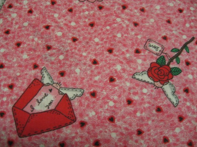 Image 1 of Valentines Day Hearts angels and Love Letters Sewing Fabric by the yard