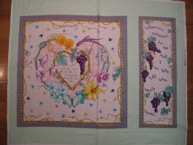 Daisy Kingdom Bible John 15:5 Butterfly Heart Grape Vine fabric