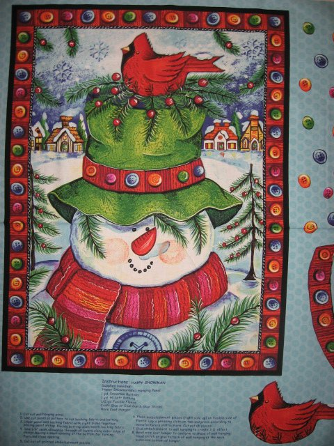 fabric wall panel Winter Frosty the Snowman and Cardinal friend to sew //