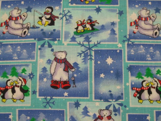 Bear penguin Fabric By the Yard Whimsical Cotton  Block Form winter snow