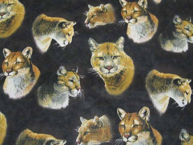 Hautman big cats cougar lion applique new Fabric By the yard
