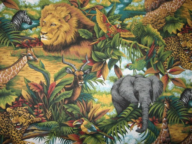 Image 0 of Lions Giraffes gazelle and Elephants in the jungle Cotton fabric by the yard