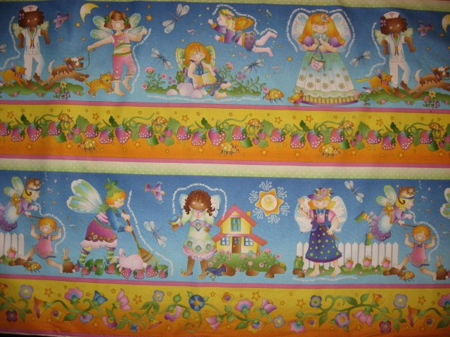 Image 1 of Fairy Angels Avlyn cotton sewing fabric by the yard