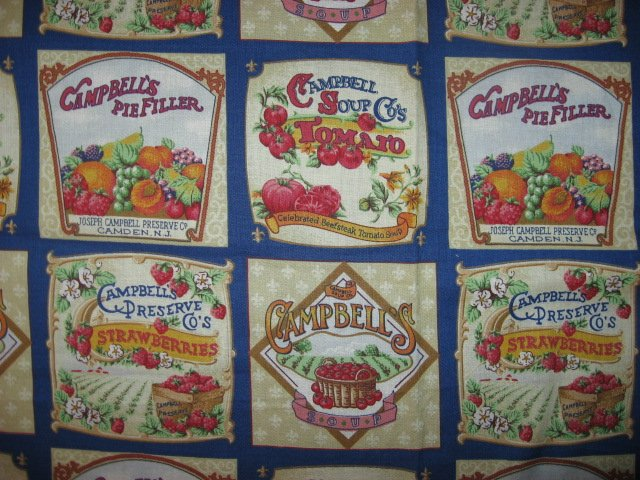 Campbell's food fruit Jar Labels Fabric to sew 18 squares