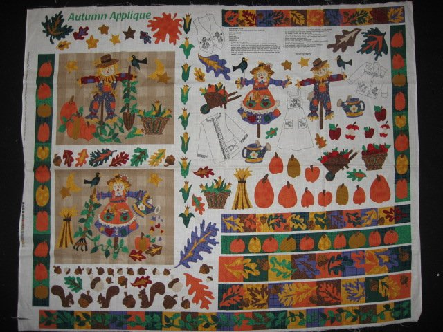 Image 0 of Fall Autumn Scarecrow Cotton Fabric by the yard Appliques to cut and sew