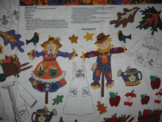 Image 1 of Fall Autumn Scarecrow Cotton Fabric by the yard Appliques to cut and sew