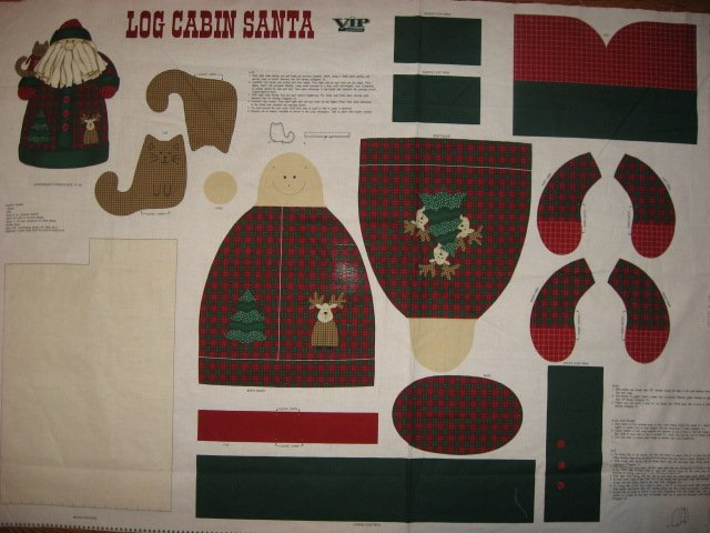 Image 0 of Log Cabin Christmas Santa and a gingham Kitty Stand up Fabric doll panel to sew