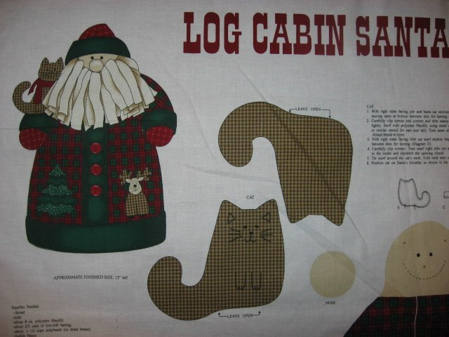 Image 1 of Log Cabin Christmas Santa and a gingham Kitty Stand up Fabric doll panel to sew