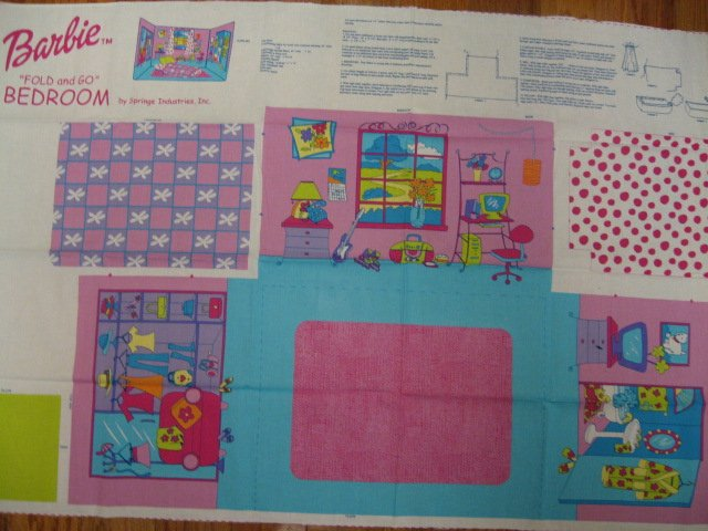 Barbie Fold and Go Bedroom Fabric Panel to sew