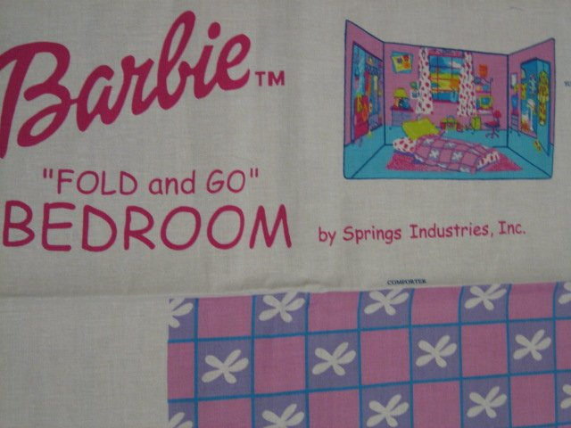 Image 1 of Barbie Fold and Go Bedroom Fabric Panel to sew
