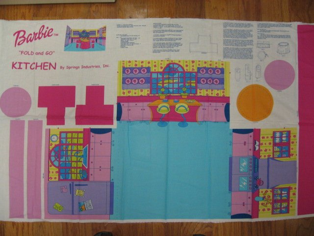 Barbie Fold and Go Kitchen Fabric Panel to sew