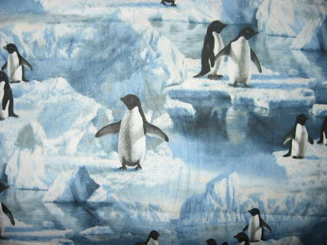 Penguin Fabric Birds Arctic Ice Glitter Hautman by the 1/2 yard