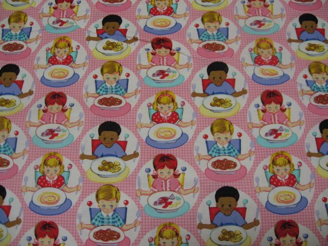 Michael Miller Baby in a high chair pink Cotton fabric by the yard