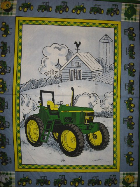 John Deere Tractor Farm Barn Cow Quilt or Wall Panel Throw Fabric to sew rare