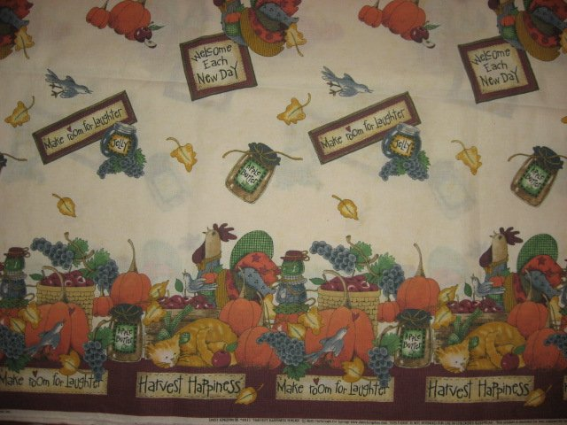 Thanksgiving Harvest Pumpkin Table Cloth Fabric Two Yard piece