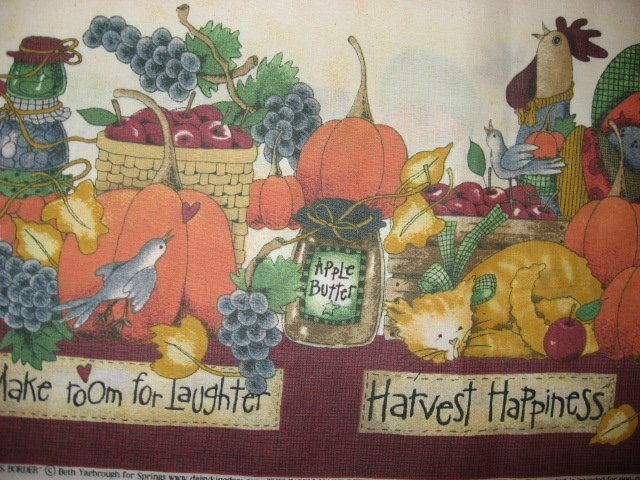 Image 1 of Thanksgiving Harvest Pumpkin Table Cloth Fabric Two Yard piece