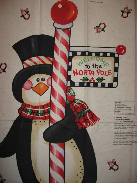 Image 1 of Daisy Kingdom Penguin Christmas Fabric Door Panel to Sew