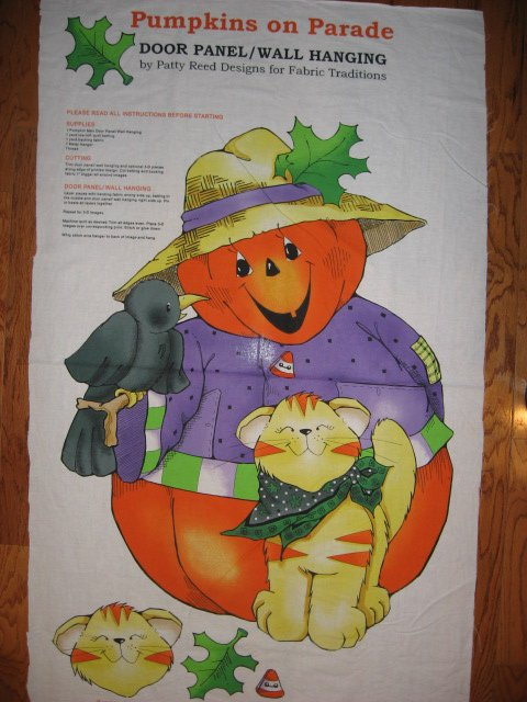 Image 1 of Halloween Pumpkin Crow Kitty cotton fabric wall or door panel to sew