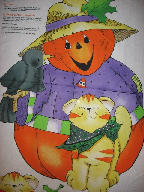 Halloween Pumpkin Crow Kitty cotton fabric wall or door panel to sew