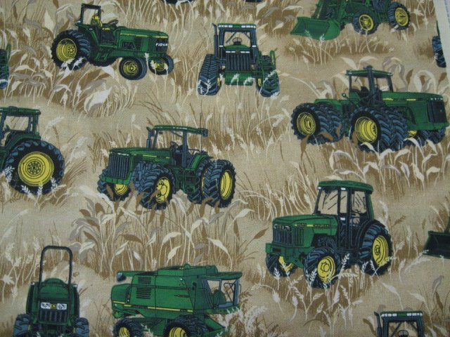 John Deere Tractor Wheat Field farm Beige Fabric By the yard rare