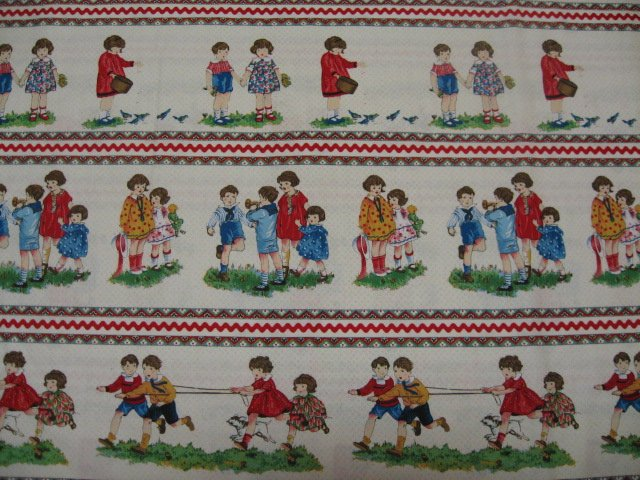 Michael Miller Children in rows with ric rac cotton fabric by the yard