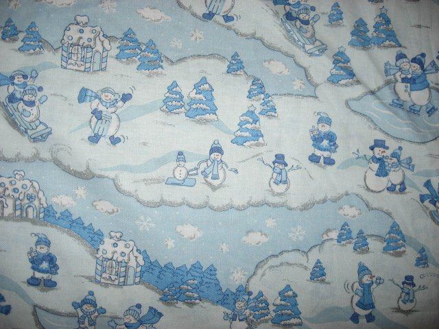 Snowmen in Winter with silver Glitter Sewing Fabric by the yard