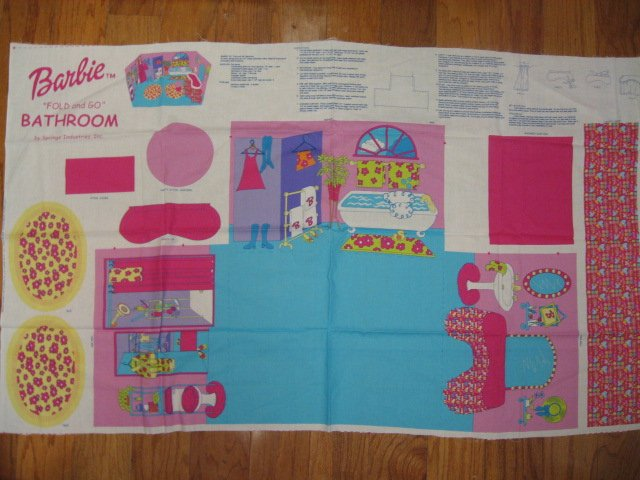 Barbie Fold and Go Bathroom Fabric Panel to sew