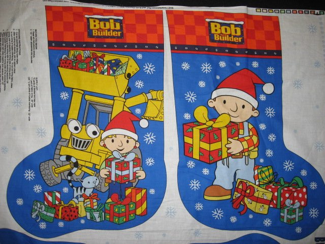Bob the Builder 22 Christmas Stocking 100% cotton Fabric Panel to Sew