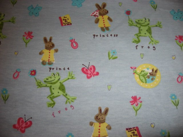 Frog Prince Bunny Princess Cotton Poly Fabric 60 wide