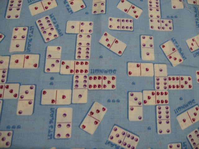 Dominoes Game Blue New Cotton Quilt Sewing fabric last yard