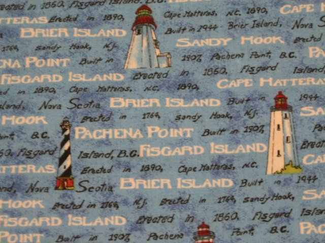 Image 0 of Nautical Lighthouse Names Sea Ocean Cotton Fabric by the yard