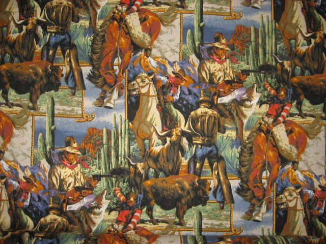 Southwest Cowboys Horses buffalo and wolves 100% cotton sewing fabric