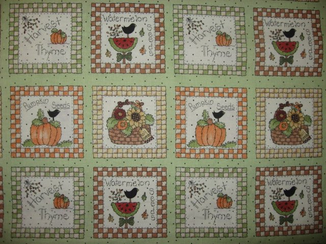 Image 0 of Harvest Pumpkin Seeds food Fabric squares 30 sqs 12 1/2