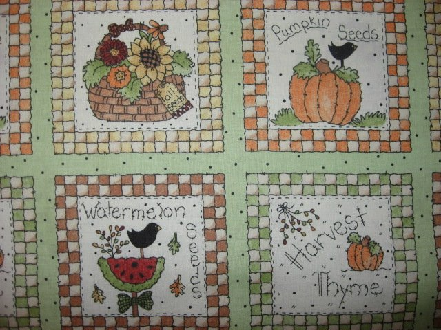 Image 1 of Harvest Pumpkin Seeds food Fabric squares 30 sqs 12 1/2