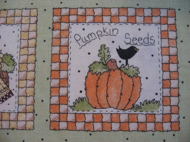 Image 3 of Harvest Pumpkin Seeds food Fabric squares 30 sqs 12 1/2