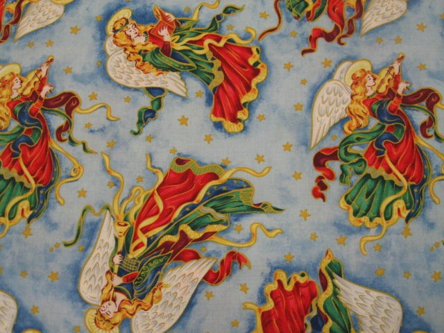 Angels Ribbons Christmas Overall Sewing Quilt Fabric