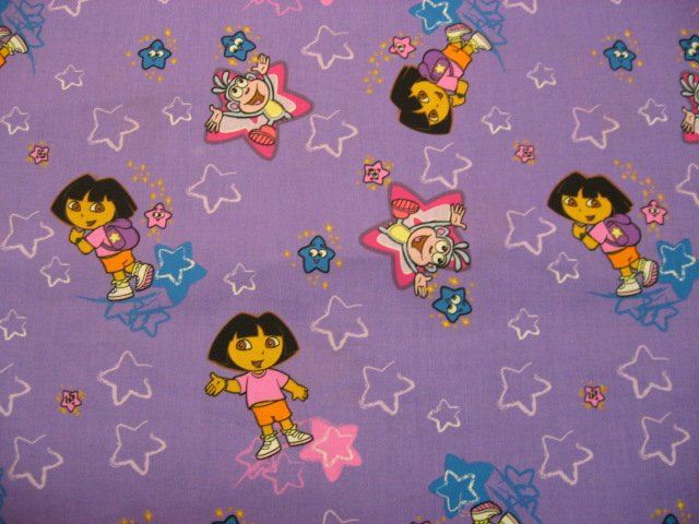 Dora with stars and boots purple sewing fabric by the yard for Solar system fleece fabric