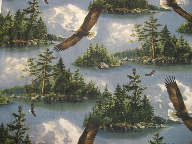 Eagles Flying over Lake Pine trees island Sewing Fabric by the yard