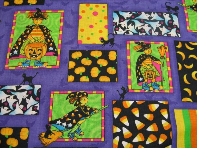 Halloween Witches Ghosts Pumpkins Whimsical fabric by the yard
