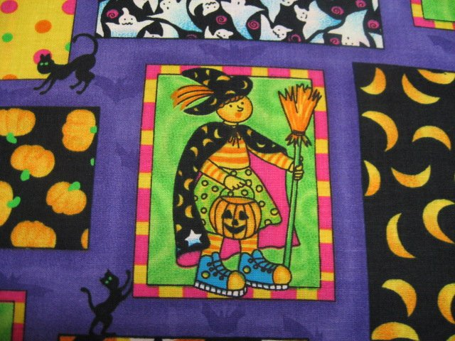 Image 1 of Halloween Witches Ghosts Pumpkins Whimsical fabric by the yard