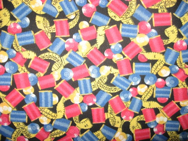Image 0 of Thread Spool Button Tape Quilt Dress 100% cotton Sewing Fabric