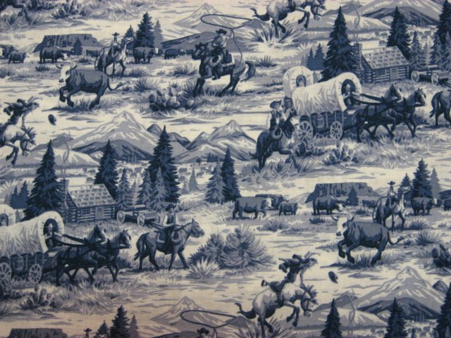 Image 0 of Cowboys Horses Stagecoach blue toile sewing fabric by the yard