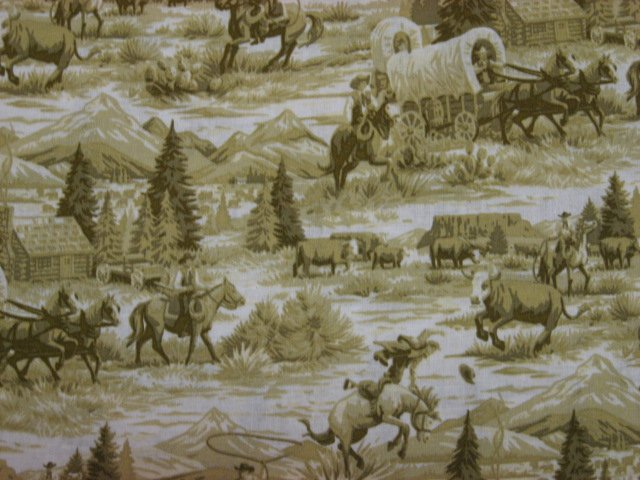 Image 0 of Cowboys Horses Stagecoach Beige Toile sewing fabric by the yard