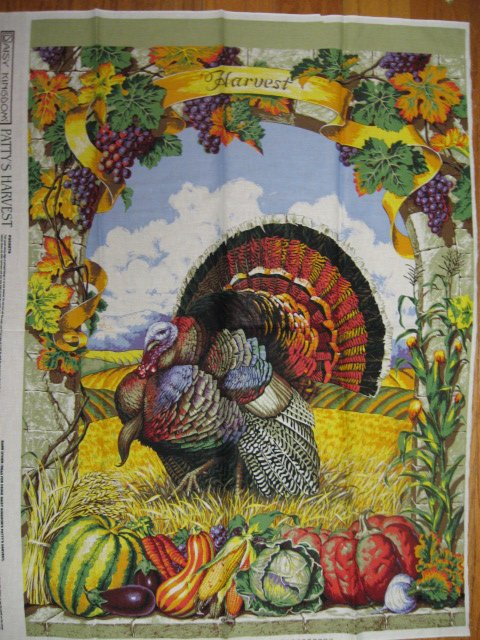 Harvest Turkey cotton Fabric panel to sew by Patty Reed //