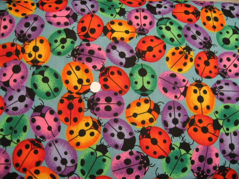 Multicolored Ladybug on soft blue quilt cotton Fabric by the yard