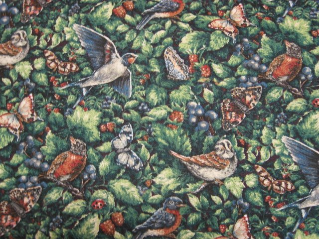 Birds Butterflies Berries Glenvale cottage cotton fabric by the yard
