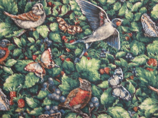 Image 1 of Birds Butterflies Berries Glenvale cottage cotton fabric by the yard
