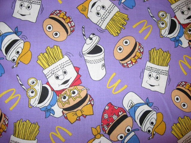 Image 0 of Ronald McDonald Fries hamburger purple cotton fabric fat quarter  1/4 yard