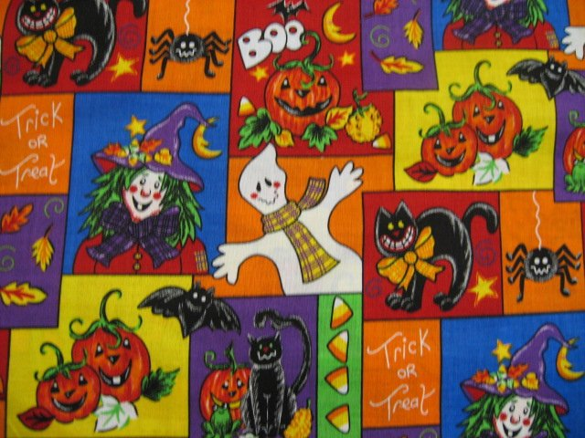 Happy Scarecrow Cat Halloween Witch Pumpkin Ghost fabric by the yard