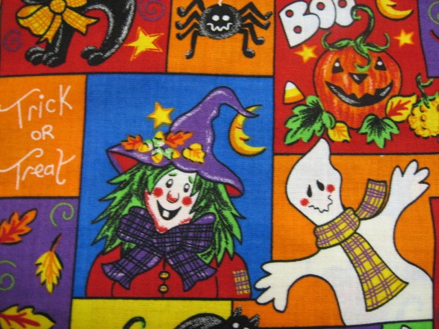 Image 1 of Happy Scarecrow Cat Halloween Witch Pumpkin Ghost fabric by the yard